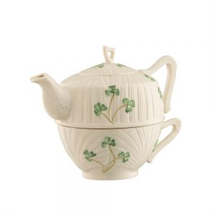 Belleek Classic HARP SHAMROCK TEA FOR ONE