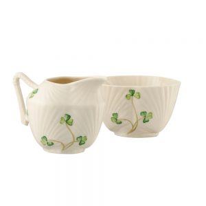 Belleek Classic HARP SHAMROCK SUGAR & CREAM SET