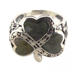 20046 – Inlaid Silver Shamrock Ring