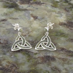 10903 Connemara Marble & Sterling Silver Trinity Knot earrings