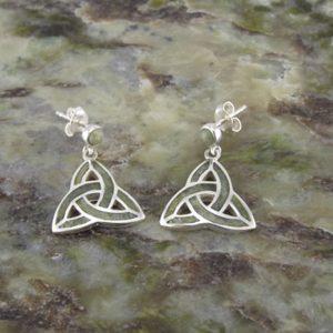10903 Connemara Marble & Sterling Silver Trinity Knot earrings