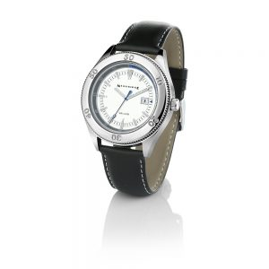 Gents Watch Silver Dial Black Strap
