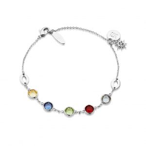 Silverplate Bracelet with coloured stones