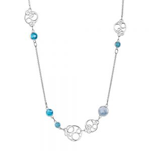 Silverplate Necklace Blue Stones
