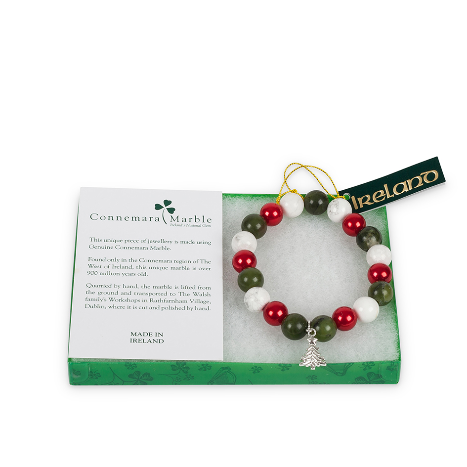Connemara Marble Christmas Tree Charm Bracelet - Ireland\'s Gift Shop