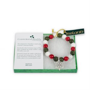 Connemara Marble Christmas Snowflake Charm Bracelet